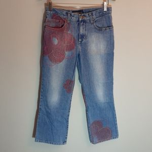 Express floral print crop/ankle jeans 28x23